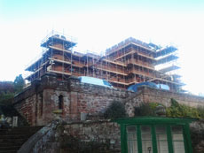 Scaffolding to castle in Shrewsbury