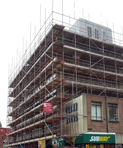 Scaffolding in Shrewsbury Town Centre