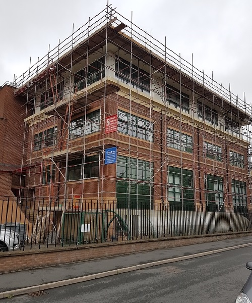 Scaffolding at Wakeman College